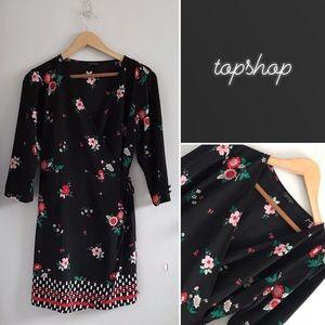 Topshop Black Floral Wrap Dress